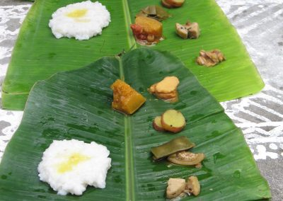 Banana leaf with sacred food offering, Chettinad, Tamil Nadu, South India-1
